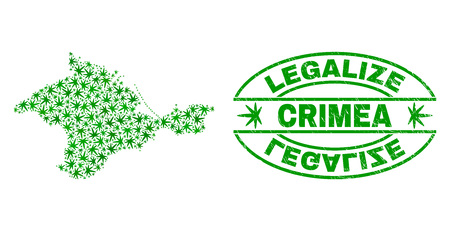Vektor-Marihuana-Krim-Kartenmosaik und Grunge texturiert Stempelsiegel legalisieren. Konzept mit grünen Unkrautblättern. Konzept für die Cannabis-Legalisierungskampagne. Vektorkarte der Krim wird mit Cannabisblättern gebildet.