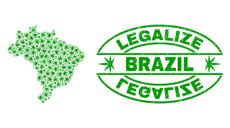 Vector cannabis Brazil map mosaic and grunge textured Legalize stamp seal. Concept with green weed leaves. Template for cannabis legalize campaign. Vector Brazil map is formed with weed leaves.