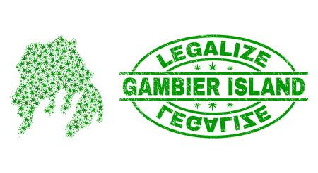 Vektor-Cannabis Gambier Island Kartenmosaik und Grunge texturiert Stempelsiegel legalisieren. Konzept mit grünen Unkrautblättern. Vorlage für die Cannabis-Legalisierungskampagne. Vektorgrafik