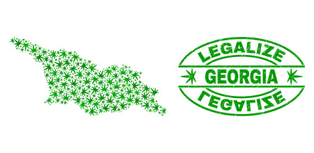 Vector cannabis Georgia map collage and grunge textured Legalize stamp seal. Concept with green weed leaves. Concept for cannabis legalize campaign. Vector Georgia map is designed with weed leaves.