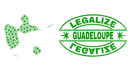 Vektor-Cannabis Guadeloupe Kartenmosaik und Grunge texturiert Stempelsiegel legalisieren. Konzept mit grünen Unkrautblättern. Konzept für die Cannabis-Legalisierungskampagne.