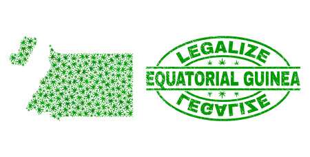 Vector cannabis Equatorial Guinea map mosaic and grunge textured Legalize stamp seal. Concept with green weed leaves. Concept for cannabis legalize campaign.