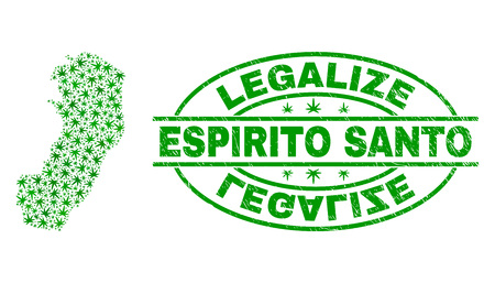 Vector cannabis Espirito Santo State map collage and grunge textured Legalize stamp seal. Concept with green weed leaves. Concept for cannabis legalize campaign.