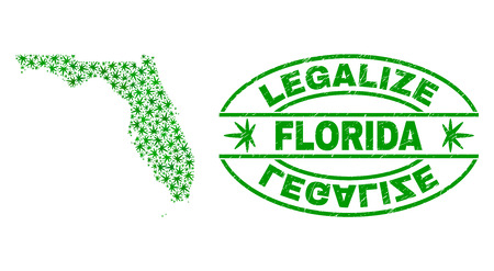 Vector cannabis Florida State map collage and grunge textured Legalize stamp seal. Concept with green weed leaves. Concept for cannabis legalize campaign.