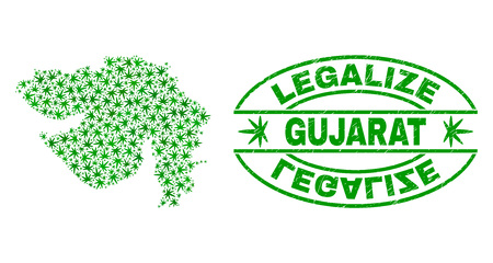 Vector cannabis Gujarat State map mosaic and grunge textured Legalize stamp seal. Concept with green weed leaves. Concept for cannabis legalize campaign.