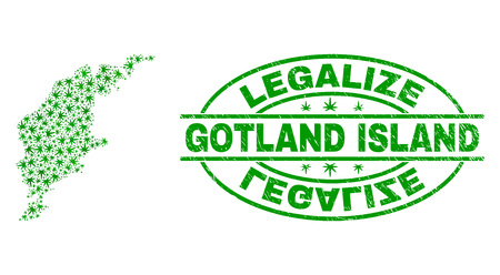 Vector cannabis Gotland Island map collage and grunge textured Legalize stamp seal. Concept with green weed leaves. Template for cannabis legalize campaign.
