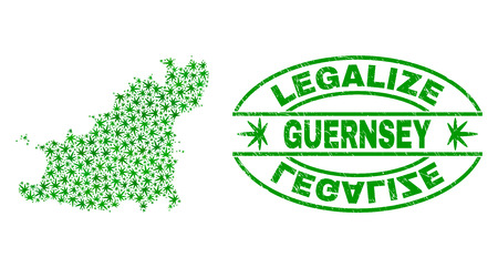 Vector cannabis Guernsey Island map mosaic and grunge textured Legalize stamp seal. Concept with green weed leaves. Concept for cannabis legalize campaign.