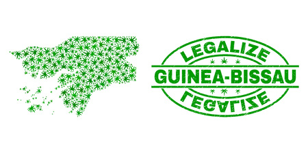 Vector cannabis Guinea-Bissau map collage and grunge textured Legalize stamp seal. Concept with green weed leaves. Concept for cannabis legalize campaign.