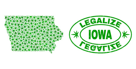 Vector cannabis Iowa State map mosaic and grunge textured Legalize stamp seal. Concept with green weed leaves. Concept for cannabis legalize campaign.