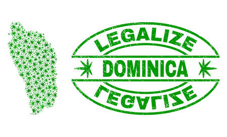 Vector cannabis Dominica Island map mosaic and grunge textured Legalize stamp seal. Concept with green weed leaves. Template for cannabis legalize campaign. 向量圖像
