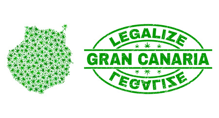 Vector marijuana Gran Canaria map collage and grunge textured Legalize stamp seal. Concept with green weed leaves. Concept for cannabis legalize campaign.