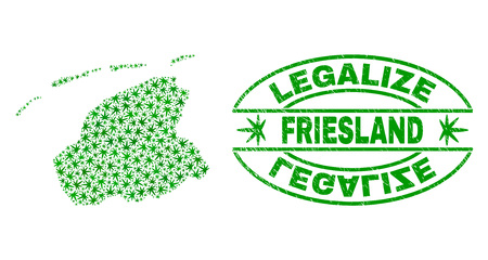 Vector cannabis Friesland Province map collage and grunge textured Legalize stamp seal. Concept with green weed leaves. Concept for cannabis legalize campaign.
