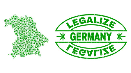 Vector cannabis Germany map mosaic and grunge textured Legalize stamp seal. Concept with green weed leaves. Concept for cannabis legalize campaign. Vector Germany map is organized with weed leaves.