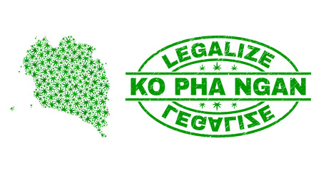 Vector cannabis Ko Pha Ngan map mosaic and grunge textured Legalize stamp seal. Concept with green weed leaves. Concept for cannabis legalize campaign. Illustration