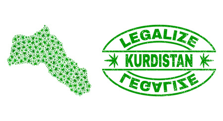 Vector marijuana Kurdistan map mosaic and grunge textured Legalize stamp seal. Concept with green weed leaves. Concept for cannabis legalize campaign.