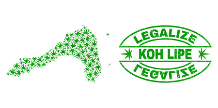 Vector marijuana Koh Lipe map mosaic and grunge textured Legalize stamp seal. Concept with green weed leaves. Concept for cannabis legalize campaign.