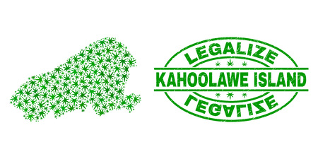 Vector cannabis Kahoolawe Island map collage and grunge textured Legalize stamp seal. Concept with green weed leaves. Concept for cannabis legalize campaign.