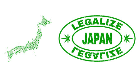 Vector cannabis Japan map mosaic and grunge textured Legalize stamp seal. Concept with green weed leaves. Concept for cannabis legalize campaign. Vector Japan map is constructed with marijuana leaves.