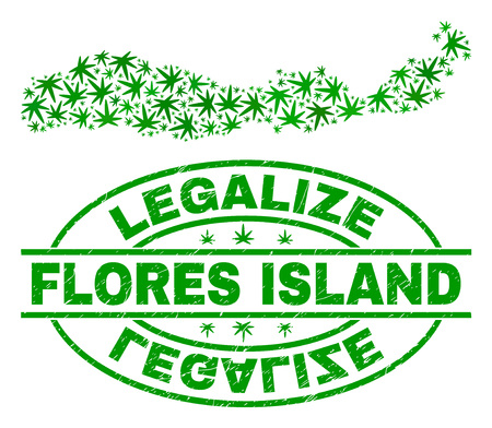 Vector cannabis Flores Island of Indonesia map collage and grunge textured Legalize stamp seal. Concept with green weed leaves. Concept for cannabis legalize campaign.