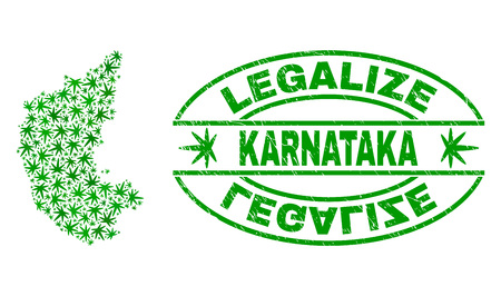 Vector cannabis Karnataka State map mosaic and grunge textured Legalize stamp seal. Concept with green weed leaves. Concept for cannabis legalize campaign.
