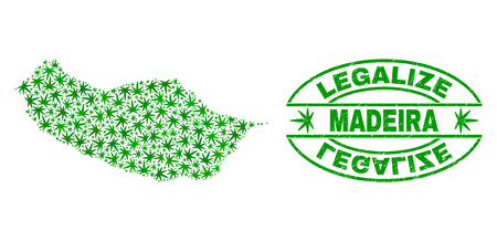 Vector marijuana Madeira map mosaic and grunge textured Legalize stamp seal. Concept with green weed leaves. Concept for cannabis legalize campaign.