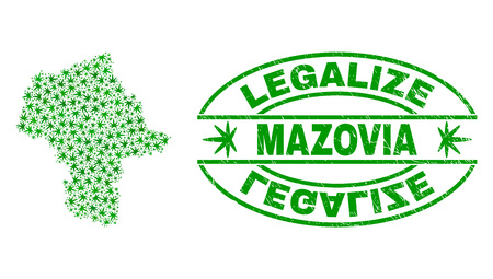 Vector cannabis Masovian Voivodeship map collage and grunge textured Legalize stamp seal. Concept with green weed leaves. Concept for cannabis legalize campaign.