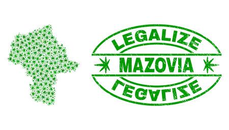 Vektor-Cannabis Woiwodschaft Masowien Kartencollage und Grunge texturiert Legalize Stempelsiegel. Konzept mit grünen Unkrautblättern. Konzept für die Cannabis-Legalisierungskampagne.