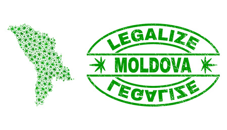 Vector cannabis Moldova map collage and grunge textured Legalize stamp seal. Concept with green weed leaves. Concept for cannabis legalize campaign. Vector Moldova map is composed of weed leaves.