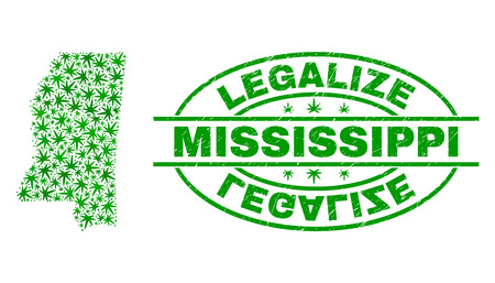 Vector marijuana Mississippi State map collage and grunge textured Legalize stamp seal. Concept with green weed leaves. Concept for cannabis legalize campaign.