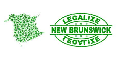 Vektor-Cannabis New Brunswick Province Kartenmosaik und Grunge texturiert Stempelsiegel legalisieren. Konzept mit grünen Unkrautblättern. Konzept für die Cannabis-Legalisierungskampagne.