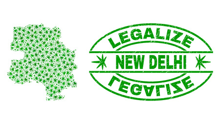 Vector cannabis New Delhi City map mosaic and grunge textured Legalize stamp seal. Concept with green weed leaves. Concept for cannabis legalize campaign.