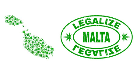 Vector cannabis Malta map mosaic and grunge textured Legalize stamp seal. Concept with green weed leaves. Template for cannabis legalize campaign. Vector Malta map is designed with cannabis leaves.