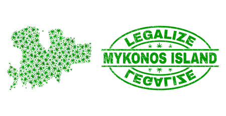 Vector cannabis Mykonos Island map collage and grunge textured Legalize stamp seal. Concept with green weed leaves. Concept for cannabis legalize campaign.