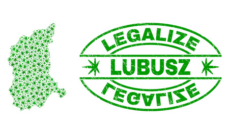 Vector cannabis Lubusz Voivodeship map collage and grunge textured Legalize stamp seal. Concept with green weed leaves. Concept for cannabis legalize campaign.