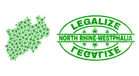 Vector cannabis North Rhine-Westphalia Land map mosaic and grunge textured Legalize stamp seal. Concept with green weed leaves. Concept for cannabis legalize campaign.