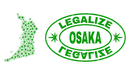 Vector cannabis Osaka Prefecture map collage and grunge textured Legalize stamp seal. Concept with green weed leaves. Template for cannabis legalize campaign.