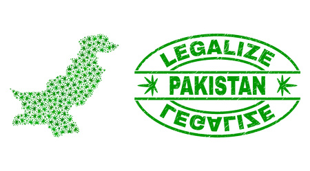 Vector cannabis Pakistan map mosaic and grunge textured Legalize stamp seal. Concept with green weed leaves. Concept for cannabis legalize campaign. Vector Pakistan map is formed with weed leaves.