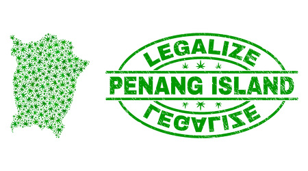 Vector cannabis Penang Island map mosaic and grunge textured Legalize stamp seal. Concept with green weed leaves. Concept for cannabis legalize campaign.