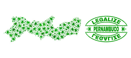 Vector cannabis Pernambuco State map collage and grunge textured Legalize stamp seal. Concept with green weed leaves. Concept for cannabis legalize campaign.