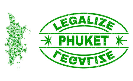 Vector cannabis Phuket map mosaic and grunge textured Legalize stamp seal. Concept with green weed leaves. Template for cannabis legalize campaign. Vector Phuket map is created with cannabis leaves.