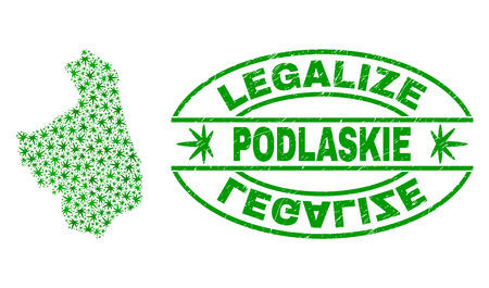 Vector cannabis Podlaskie Voivodeship map collage and grunge textured Legalize stamp seal. Concept with green weed leaves. Concept for cannabis legalize campaign.