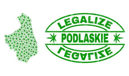 Vektor-Cannabis Woiwodschaft Podlachien Kartencollage und Grunge texturiert Legalize Stempelsiegel. Konzept mit grünen Unkrautblättern. Konzept für die Cannabis-Legalisierungskampagne.