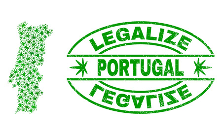 Vector cannabis Portugal map mosaic and grunge textured Legalize stamp seal. Concept with green weed leaves. Concept for cannabis legalize campaign.