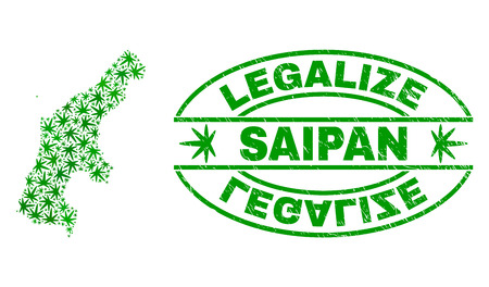 Vector marijuana Saipan Island map collage and grunge textured Legalize stamp seal. Concept with green weed leaves. Concept for cannabis legalize campaign.