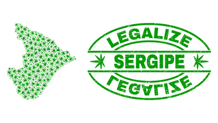 Vector marijuana Sergipe State map collage and grunge textured Legalize stamp seal. Concept with green weed leaves. Concept for cannabis legalize campaign.