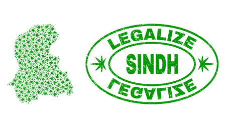 Vector cannabis Sindh Province map mosaic and grunge textured Legalize stamp seal. Concept with green weed leaves. Concept for cannabis legalize campaign.