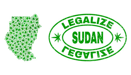 Vector cannabis Sudan map collage and grunge textured Legalize stamp seal. Concept with green weed leaves. Concept for cannabis legalize campaign. Vector Sudan map is composed with weed leaves.