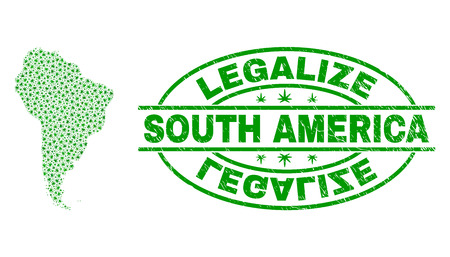 Vector marijuana South America map collage and grunge textured Legalize stamp seal. Concept with green weed leaves. Concept for cannabis legalize campaign.