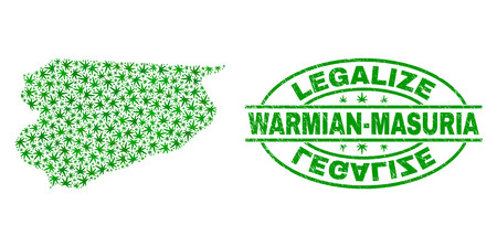 Vector cannabis Warmian-Masurian Voivodeship map mosaic and grunge textured Legalize stamp seal. Concept with green weed leaves. Template for cannabis legalize campaign.
