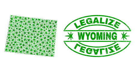 Vector cannabis Wyoming State map mosaic and grunge textured Legalize stamp seal. Concept with green weed leaves. Concept for cannabis legalize campaign. 일러스트